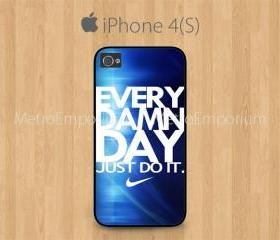 iPhone 4 Case, iPhone 4S Case Black, Every Damn Just Do It Dark Blue